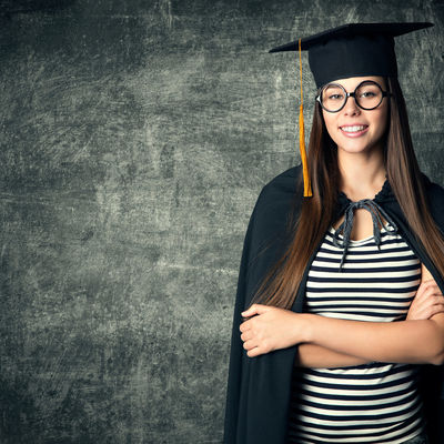 Student in Graduation Hat, Woman in Glasses Mortarboard over Bla