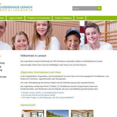 Jugendhaus Leinach Screenshot Web mit Fotos MA-Kinder